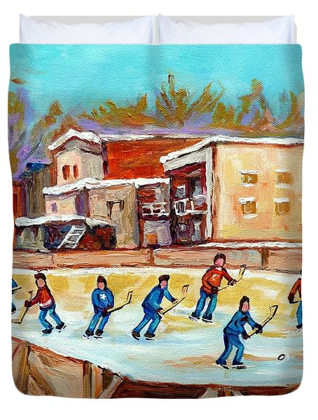 Outdoor Hockey Fun Rink Hockey Game In The City Montreal Memories Paintings Carole Spandau Duvet Cover by Carole Spandau