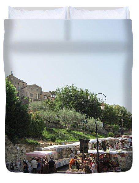 Outdoor Village Market Duvet Cover by Pema Hou
