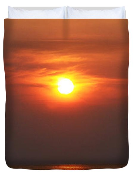 Duvet Cover featuring the photograph Outer Banks Sunset by Tony Cooper