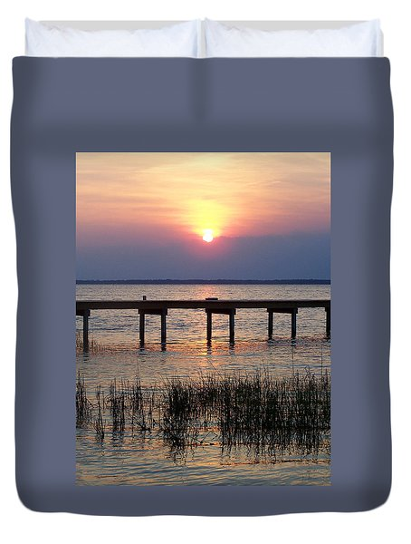 Duvet Cover featuring the photograph Outerbanks Nc Sunset by Sandi OReilly