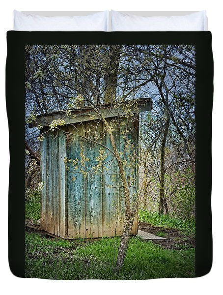Outhouse In Spring Duvet Cover