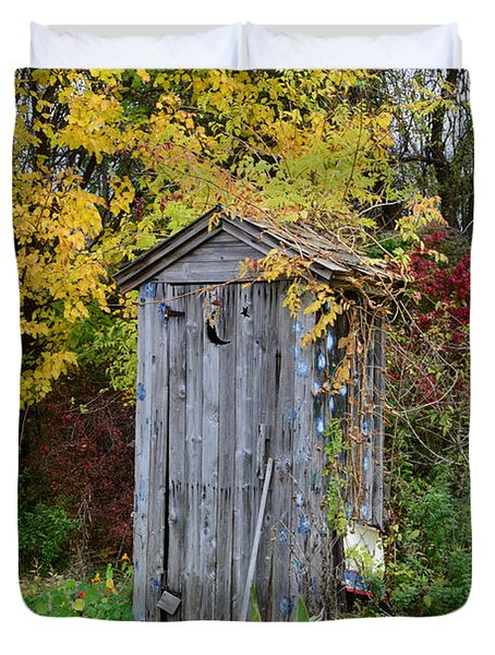 Outhouse Surrounded By Autumn Leaves Duvet Cover