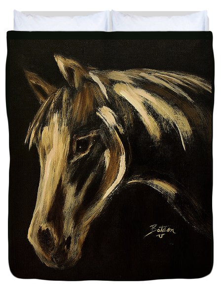 Duvet Cover featuring the painting Outlaw by Barbie Batson