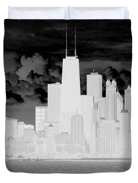 Duvet Cover featuring the photograph Outline Of Chicago by Milena Ilieva