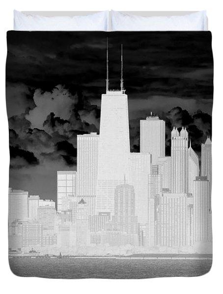 Outline Of Chicago Duvet Cover by Milena Ilieva