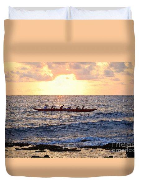 Outrigger Canoe At Sunset In Kailua Kona Duvet Cover by Catherine Sherman
