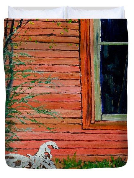 Outside The Artist's Studio Duvet Cover