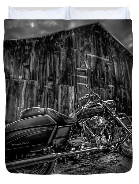Outside The Barn Bw Duvet Cover by Yo Pedro