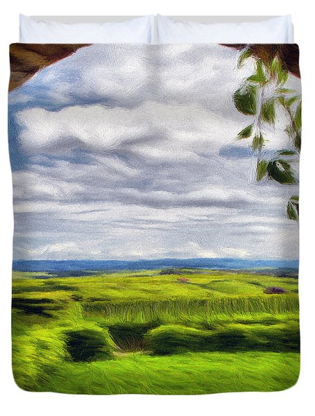 Outside The Fortress Wall Duvet Cover by Jeff Kolker