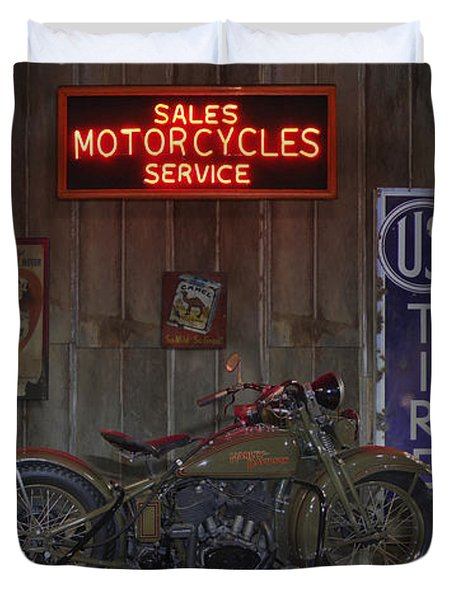 Outside The Motorcycle Shop Duvet Cover