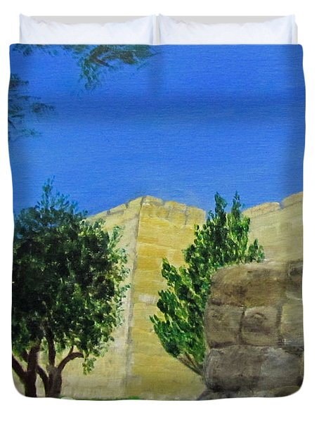 Duvet Cover featuring the painting Outside The Wall - Jerusalem by Linda Feinberg