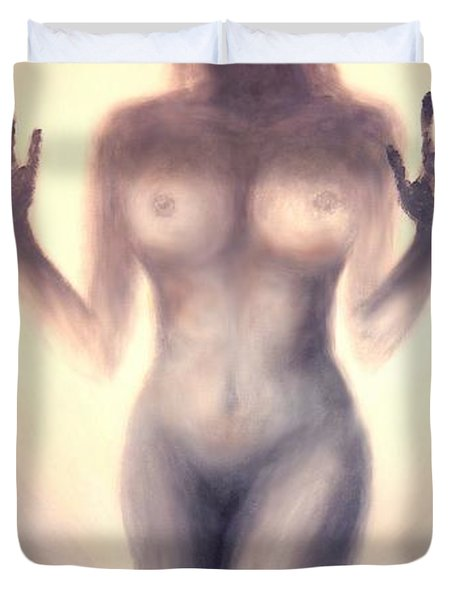 Duvet Cover featuring the photograph Outsider Series - Trapped Behind The Glass - In Sepia by Lilia D