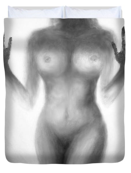 Duvet Cover featuring the painting Outsider Series - Trapped Behind The Glass by Lilia D