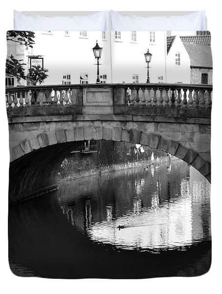 Duvet Cover featuring the photograph Oval Bridge Over The River Foss York by Scott Lyons