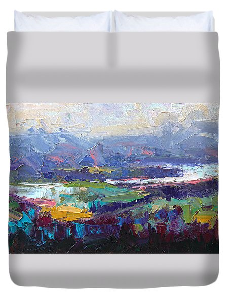 Duvet Cover featuring the painting Overlook Abstract Landscape by Talya Johnson