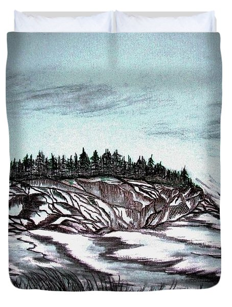 Duvet Cover featuring the drawing Oven's Park Nova Scotia by Janice Rae Pariza