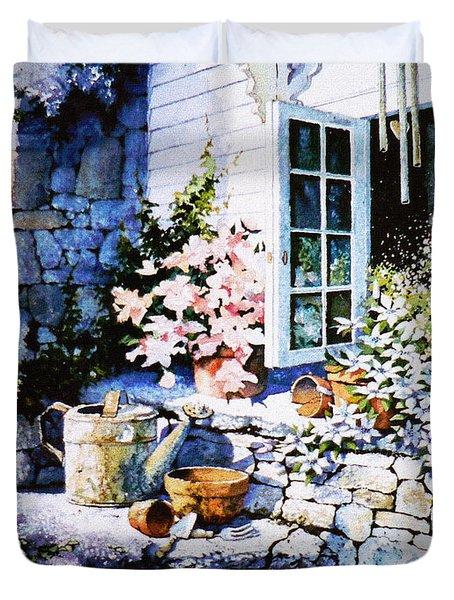 Over Sleepy Garden Walls Duvet Cover by Hanne Lore Koehler