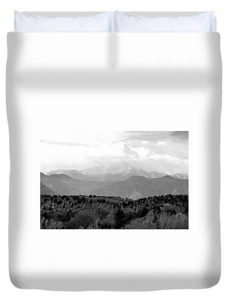 Over The Hills To Pikes Peak Duvet Cover by Clarice  Lakota