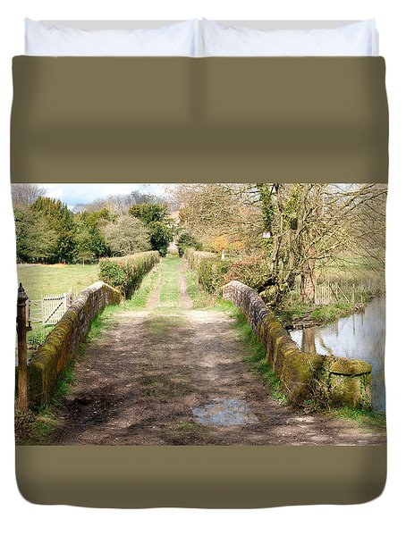 Duvet Cover featuring the photograph Over The River by Wendy Wilton