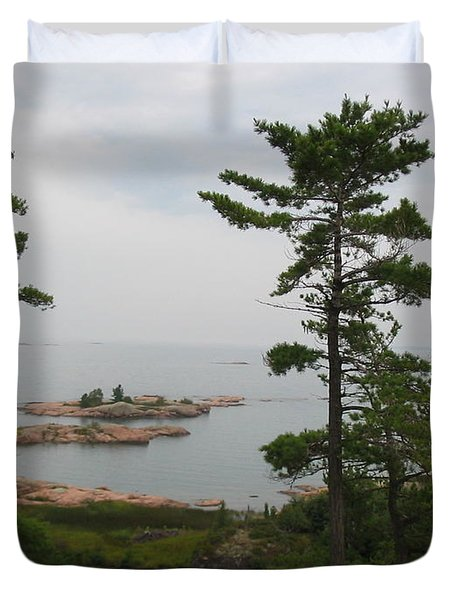 Duvet Cover featuring the photograph Overlooking Georgian Bay by Nina Silver