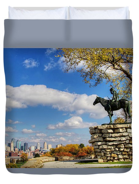 Overlooking Kansas City Duvet Cover