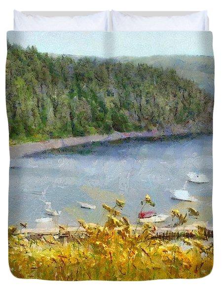 Overlooking The Harbor Duvet Cover by Jeffrey Kolker