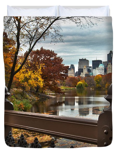 Overlooking The Lake Central Park New York City Duvet Cover