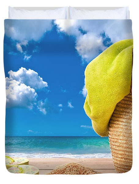 Overlooking The Ocean Duvet Cover by Amanda Elwell