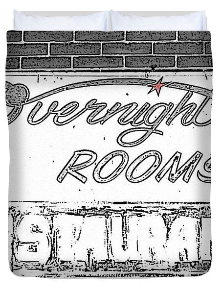 Overnight Rooms Sign Duvet Cover by Nina Silver