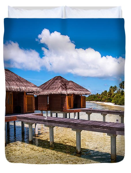 Overwater Spa Villas. Maldives Duvet Cover by Jenny Rainbow