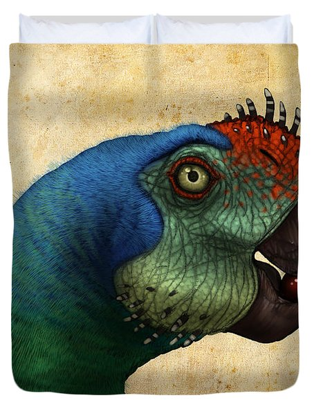 Oviraptor Head Detail Duvet Cover by Alvaro Rozalen
