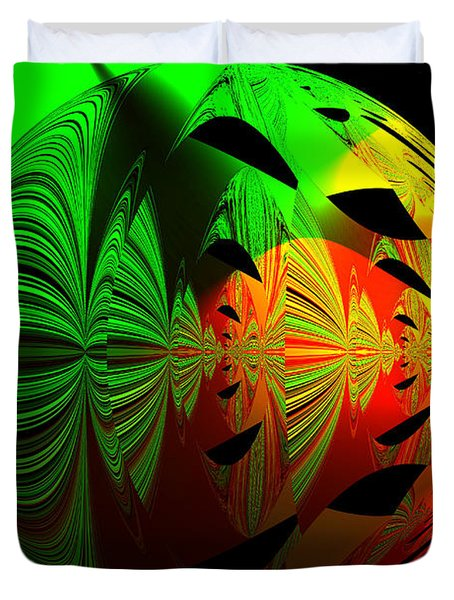 Art. Unigue Design.  Abstract Green Red And Black Duvet Cover