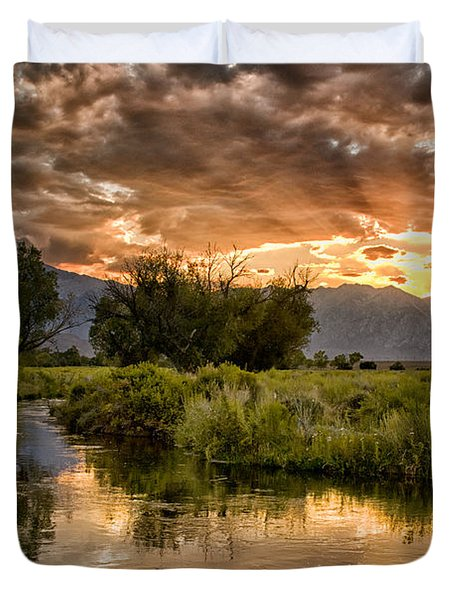 Owens River Sunset Duvet Cover