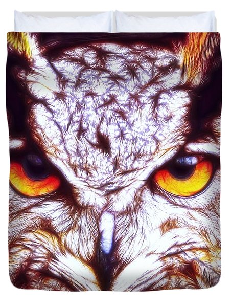 Duvet Cover featuring the digital art Owl - Fractal by Lilia D