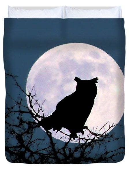 Owl And Blue Moon Duvet Cover