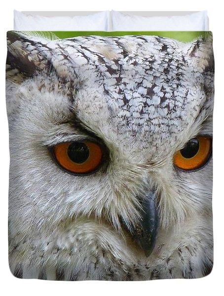 Duvet Cover featuring the photograph Owl Bird Animal Eagle Owl by Paul Fearn