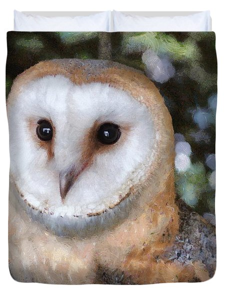 Duvet Cover featuring the digital art Owl - Bright Eyes 2 by Paul Gulliver