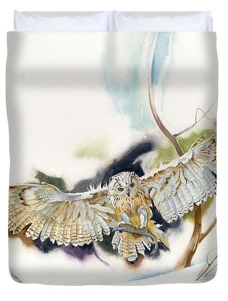 Owl Catches Lunch Duvet Cover