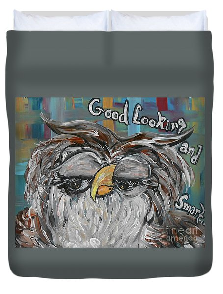 Duvet Cover featuring the painting Owl - Goodlooking And Smart by Eloise Schneider