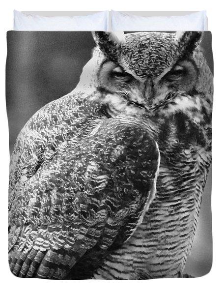 Owl In Black And White Duvet Cover
