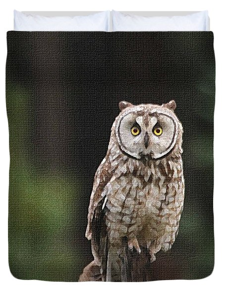 Duvet Cover featuring the photograph Owl In The Forest Visits by Tom Janca