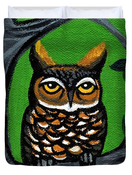 Owl In Tree With Green Background Duvet Cover by Genevieve Esson