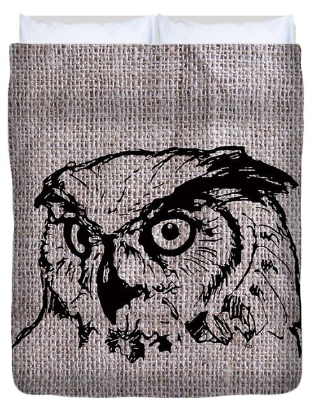Owl On Burlap Duvet Cover