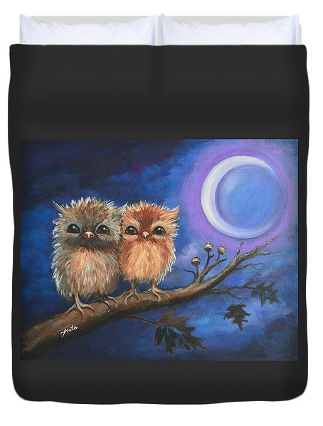 Duvet Cover featuring the painting Owl Be There For You by Agata Lindquist