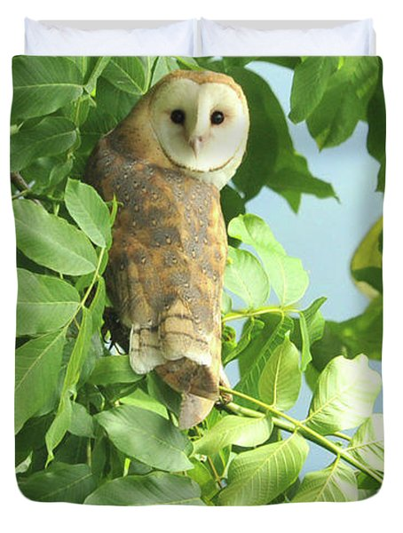 Duvet Cover featuring the photograph owl by Rod Wiens