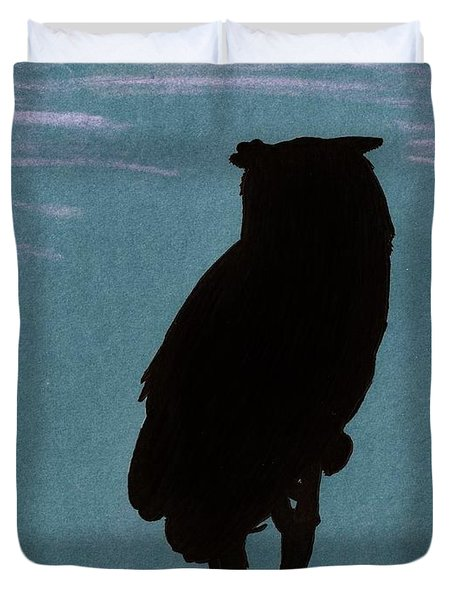 Duvet Cover featuring the drawing Owl Silhouette by D Hackett