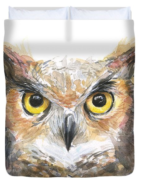 Owl Watercolor Portrait Great Horned Duvet Cover