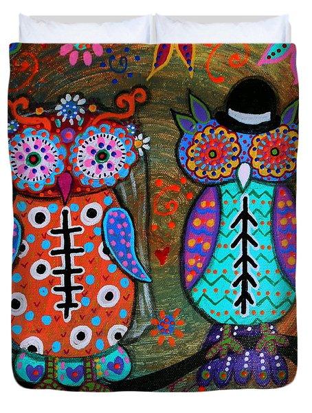 Owl Wedding Dia De Los Muertos Duvet Cover