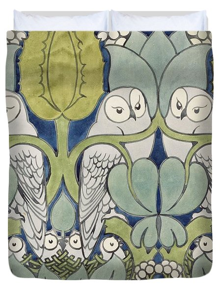 Owls, 1913 Duvet Cover
