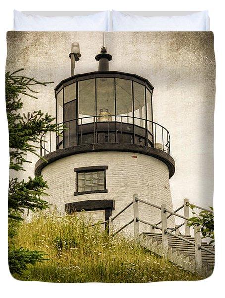 Owls Head Lighthouse Duvet Cover by Joan Carroll